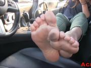 Dirty soles on leather car interior
