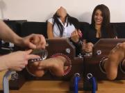 Two Smoking Hot Restrained Indian Girls Giggle While Their Feet Get Tickled Relentlessly