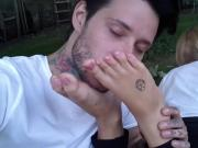 Sniffing and licking amateur's tattoed feet