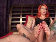 Pinup Scarlet performs Baby Oil Footjob