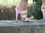 Pink stiletto sandals out for a walk