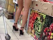 Strappy stiletto sandals out shopping