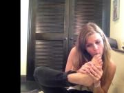 Cute Meg Falcone licks her own toes