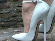 Tall and sexy white ankle strap heels