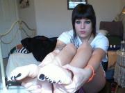 Emo brat with black toenails