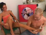 Destiny St. Claire gives footjob in toerings