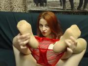 Redhead MILF in red stockings and tan stockings