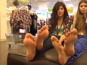 Two Sexy Young Latinas Let a Man Play With Their Feet In His Store