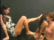 Hot female foot slave with nice tits gets tortured by two older ladies