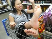 Nervous Latina tickled in shopping cart