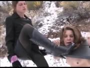 Bondage, Foot Worship, and Lesbian Domination in the Snow