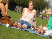 Barefoot girls out in a park