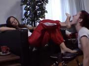 Sexy Little Slave Is Forced To Lick Her Hot Mistress's Gorgeous Bare Feet