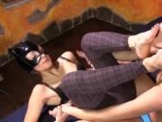 Lesbian wrestling match leads to foot worship
