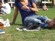 Outdoor hottie on grass with barefeet