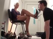 Leggy blonde shows slave shoe collection