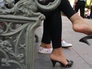 Shoe dangling hotties in public