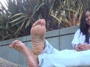 Sole wrinkling after red shoes removed outdoors