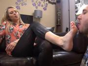 Man devours dominant blonde's feet