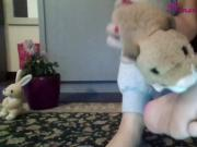 Adorable Young Blonde Girl Takes Off Her Socks And Plays Around With Her Cute Little Feet