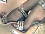 Studded metallic platform ankle straps and stockings