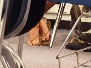 Spy video: Mexican girl in flip flop and red polish studying in library