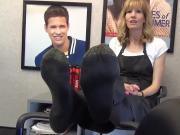 Pretty mature salon worker interviewed about her feet