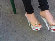 Floral platform stripper heels outdoor candid