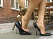 Pencil stiletto heels out on a walk