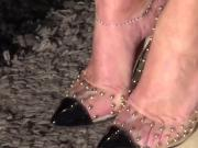 Wife's feet in sexy seethrough studded Scarpins