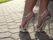 Sexy metallic strappy high heel sandals