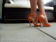 Burnt orange heels and white ankle straps