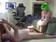 Green haired Kandy Kisses gives footjob while he films