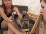 Foot slave must worship her shoes