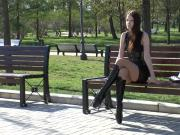 Hot Woman In Really Sexy Tall Leather Boots Struts Her Stuff Outdoors