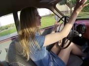 Bettina pumps the hell out of classic car pedal