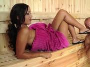 Steamy footjob in a hot sauna