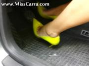 Miss Carra Shows You How She Can Play With The Pedals Using Her Bright Yellow Heels