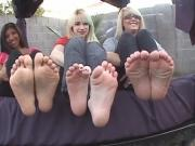 Two blondes and a Latina wiggling toes