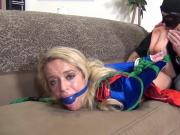 Big Sal licks tied up blonde's toes