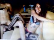 Footjob from hot tatted teen amateur