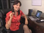 Hot MILF teacher in nylon stockings and high heels stripping at the office