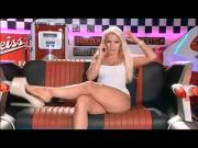 Dangling in beige high platforms for that nice blond barbi