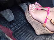 Girl With Platform Shoes and Bright Pink Toenails Pushes Down The Pedals Up-Close