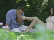Toe sucking and fucking during picnic