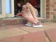 Relaxed Asian Girl Takes Off her Little Sandals To Show Off Her Asian Feet