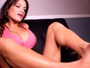 Beautiful Brunette Gives a Hot Foot Job While Talking On The Phone With Her Boyfriend