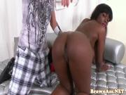 Cocksucking bigass ebony gets wet and messy