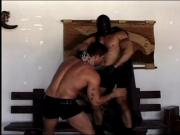 Gorgeous bondage boys in leather gear and can't get enough ass pounding