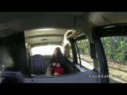 Beautiful Brit gags big cock in cab in public pov